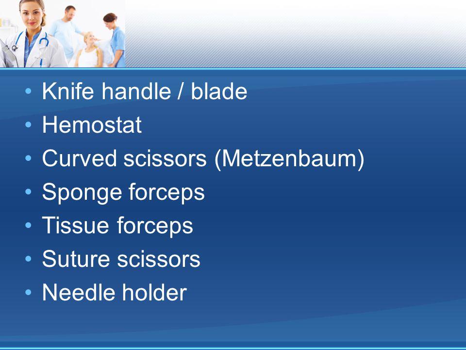 Knife handle / blade Hemostat Curved scissors (Metzenbaum) Sponge forceps Tissue forceps Suture scissors Needle holder