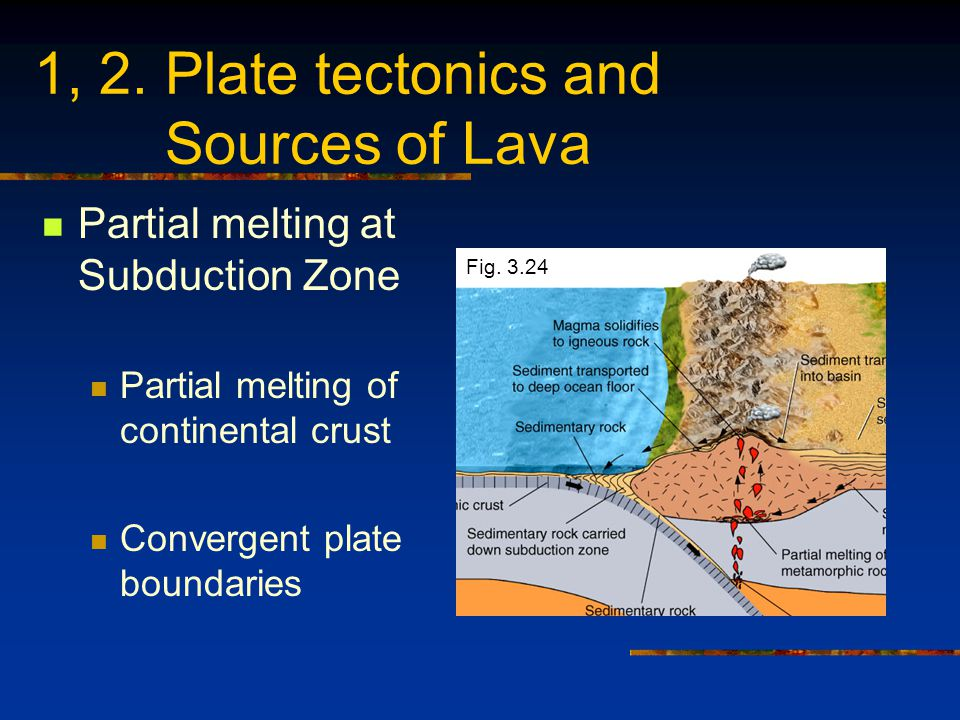 1, 2. Plate tectonics and Sources of Lava Partial melting at Subduction Zone Partial melting of continental crust Convergent plate boundaries Fig. 3.2