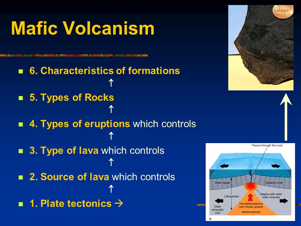Mafic Volcanism 6. Characteristics of formations  5.