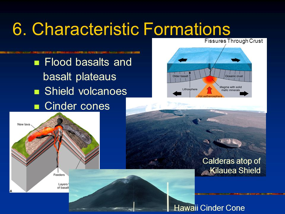 6. Characteristic Formations Flood basalts and basalt plateaus Shield volcanoes Cinder cones Fissures Through Crust Hawaii Cinder Cone Calderas atop o