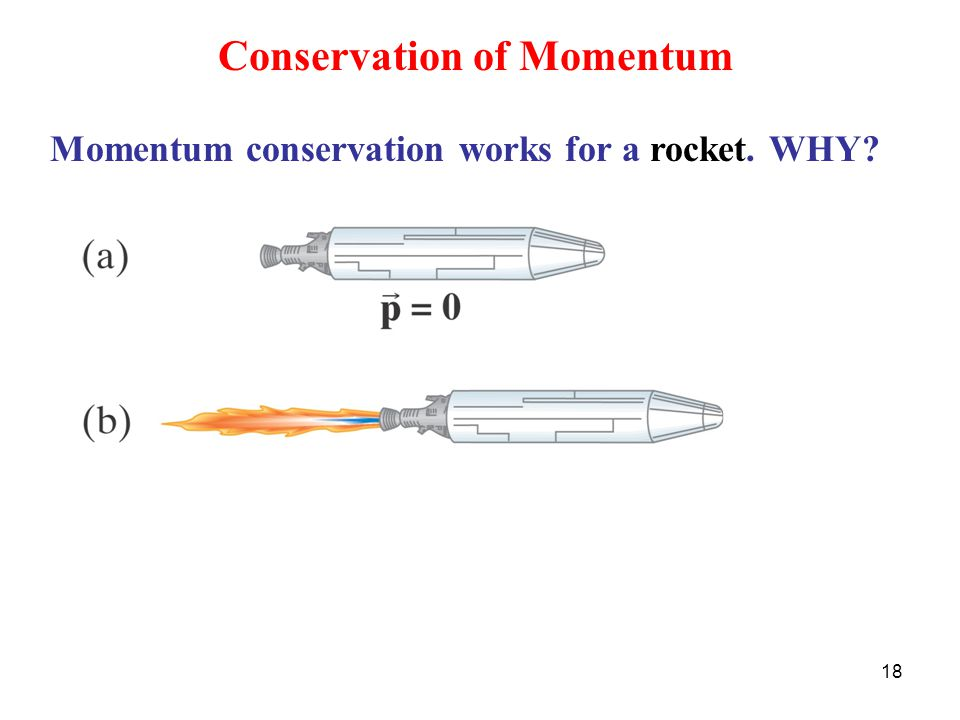 18 Conservation of Momentum Momentum conservation works for a rocket. WHY?