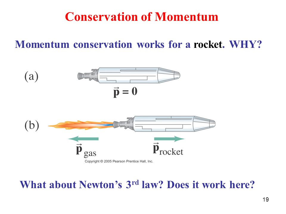 19 Conservation of Momentum Momentum conservation works for a rocket.