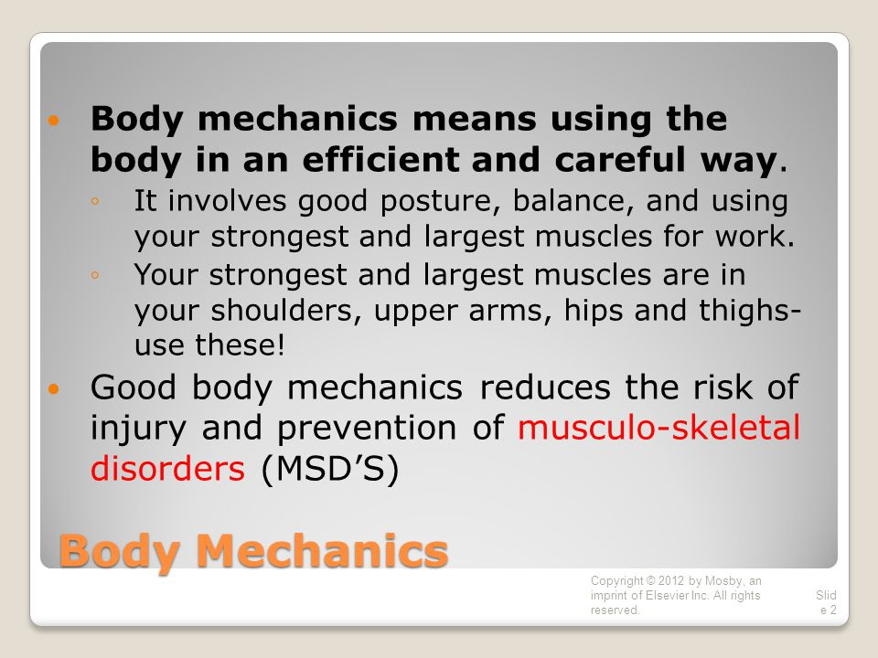 Body Mechanics Body mechanics means using the body in an efficient and careful way.