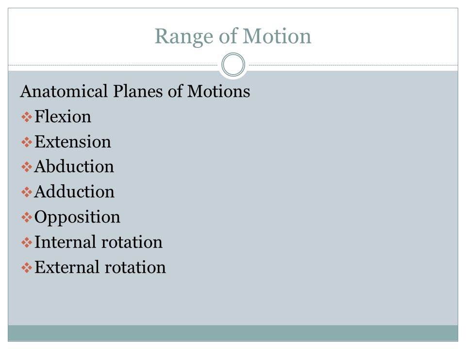 Range of Motion  AROM – carried out independently by the patient  PROM – ROM performed without the assistance of the patient  AAROM- Carried out by the patient with assistance to facilitate normal muscle function.