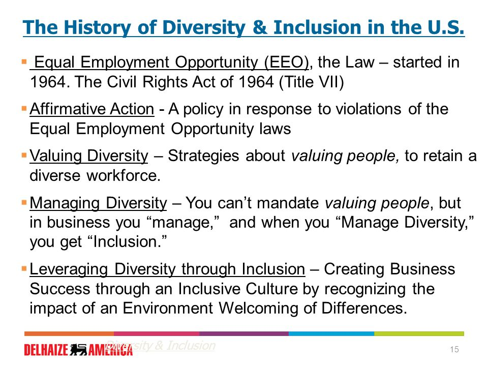 15 The History of Diversity & Inclusion in the U.S.