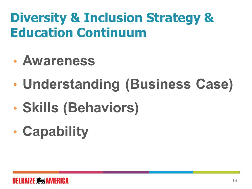 Diversity & Inclusion Strategy & Education Continuum Awareness Understanding (Business Case) Skills (Behaviors) Capability 19