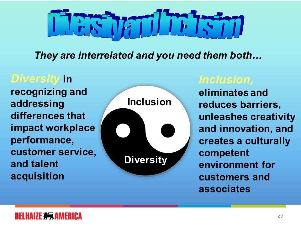 29 Diversity Inclusion They are interrelated and you need them both… Diversity in recognizing and addressing differences that impact workplace performance, customer service, and talent acquisition Inclusion, eliminates and reduces barriers, unleashes creativity and innovation, and creates a culturally competent environment for customers and associates