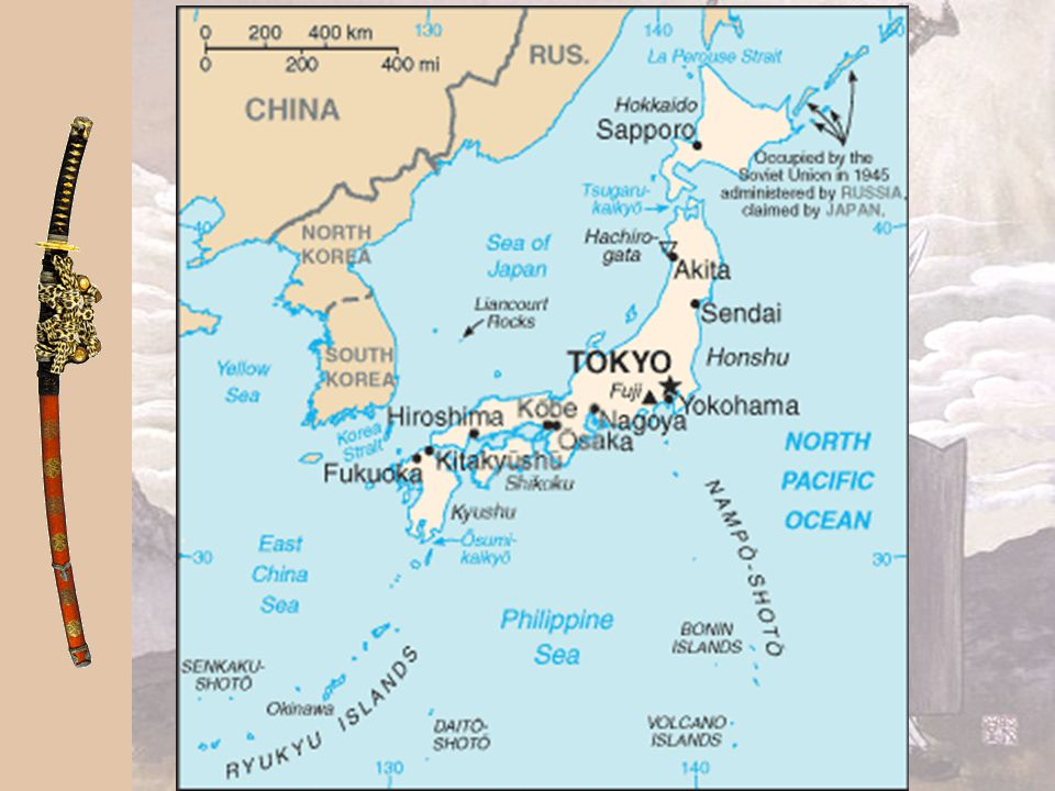 "The Growth of Japanese Civilization Japan's Location Japan lies east of China; name means ""land of the rising sun"" Closest neighbor is 120 miles over"