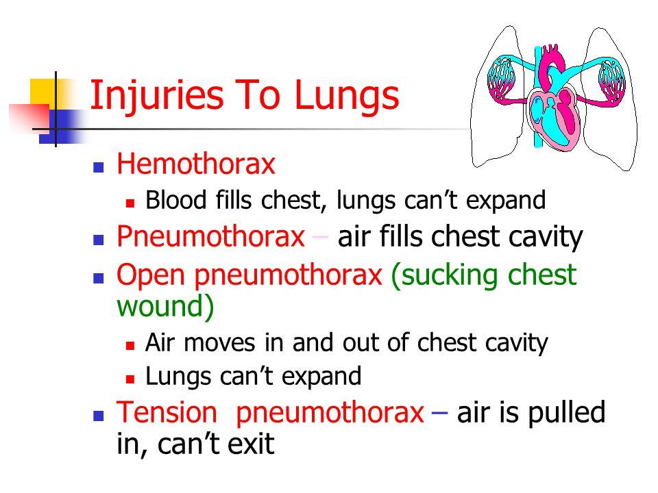 Injuries To Lungs Hemothorax Blood fills chest, lungs can't expand Pneumothorax – air fills chest cavity Open pneumothorax (sucking chest wound) Air moves in and out of chest cavity Lungs can't expand Tension pneumothorax – air is pulled in, can't exit