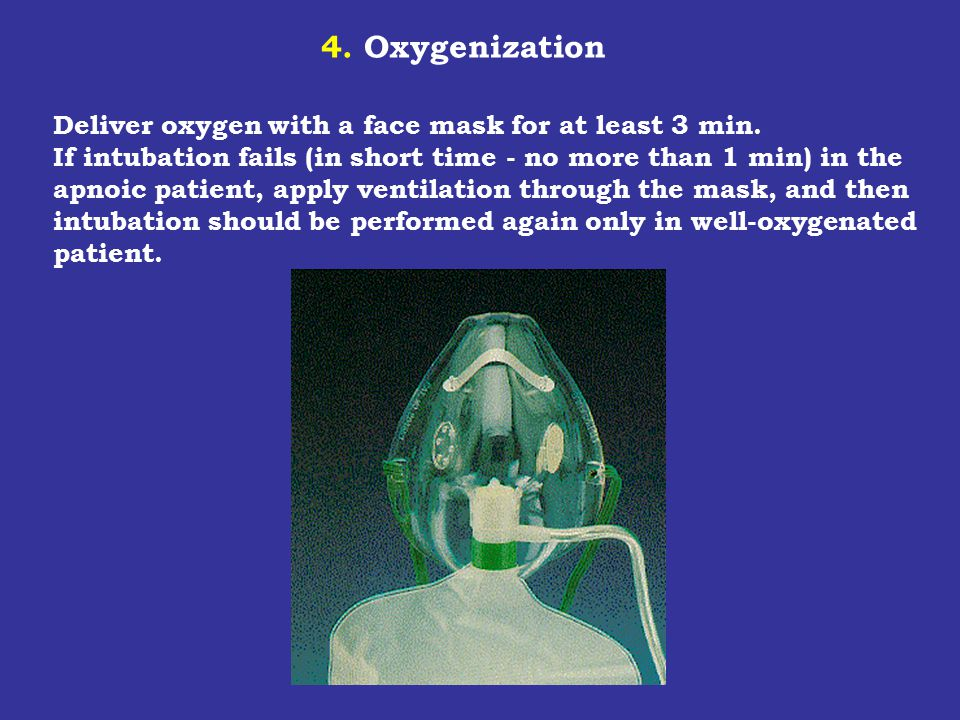 4. Oxygenization Deliver oxygen with a face mask for at least 3 min. If intubation fails (in short time - no more than 1 min) in the apnoic patient, a