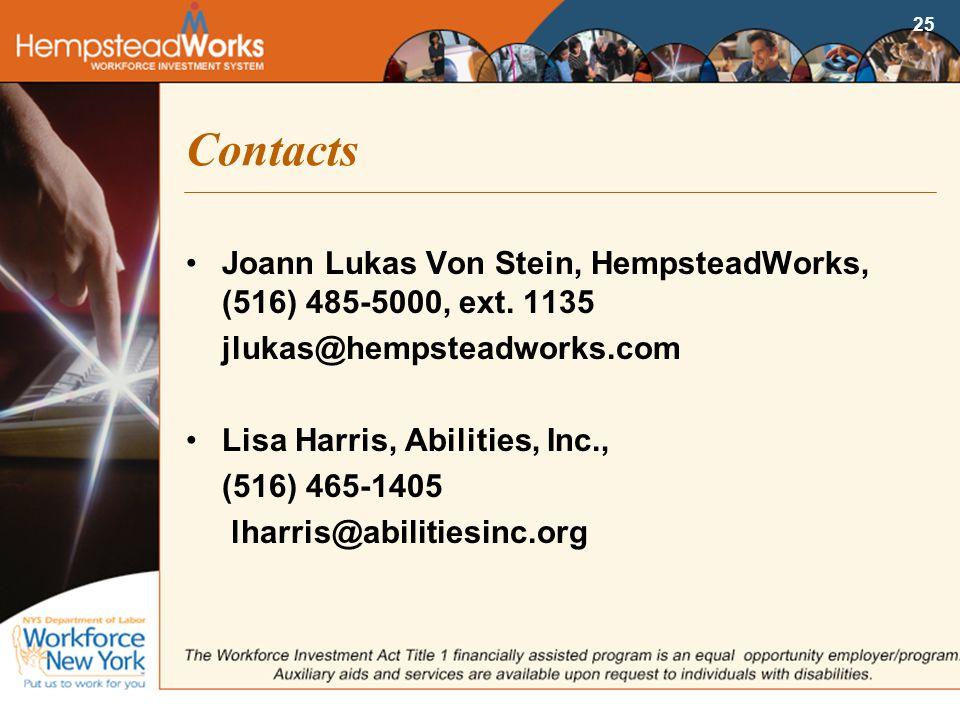 25 Contacts Joann Lukas Von Stein, HempsteadWorks, (516) 485-5000, ext.