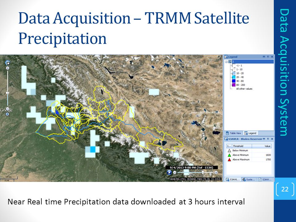 Data Acquisition – TRMM Satellite Precipitation 22 Data Acquisition System Near Real time Precipitation data downloaded at 3 hours interval