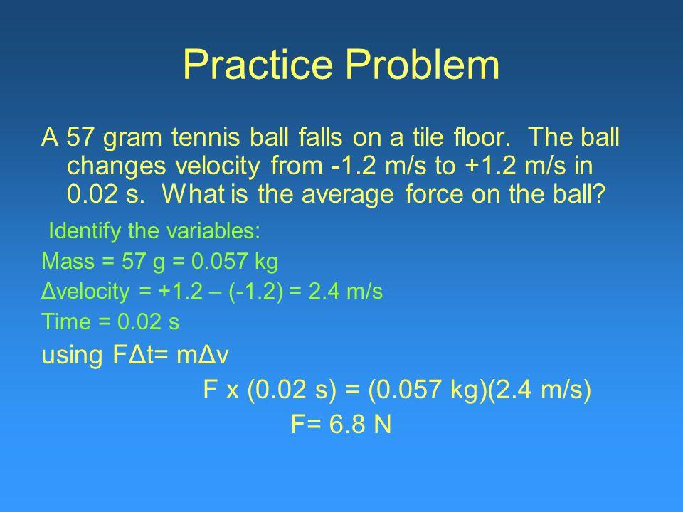 Practice Problem A 57 gram tennis ball falls on a tile floor.