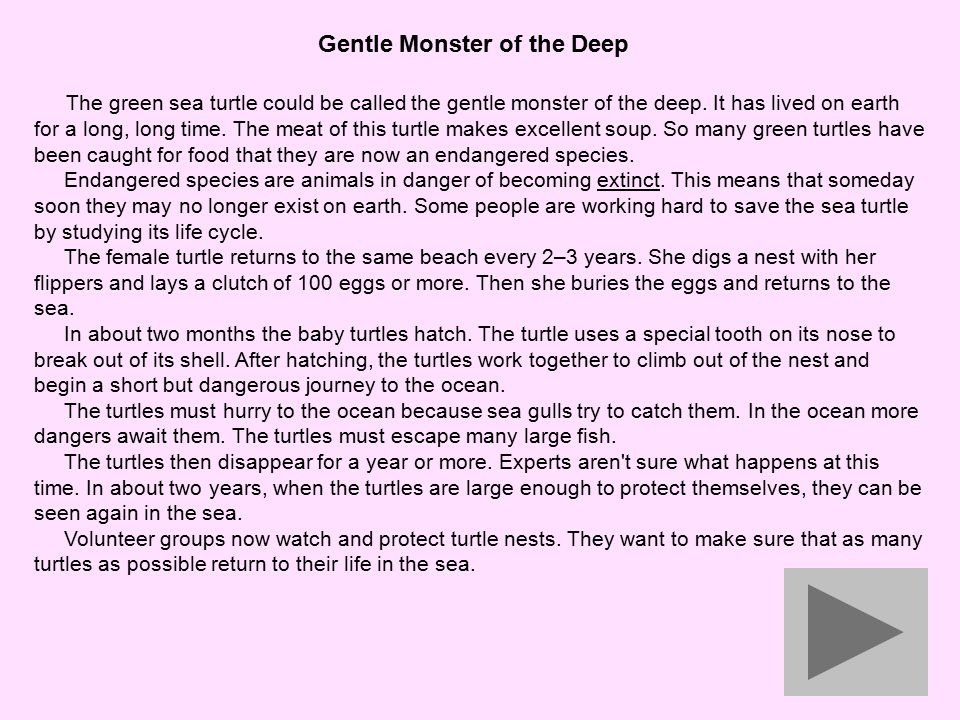 Gentle Monster of the Deep The green sea turtle could be called the gentle monster of the deep.
