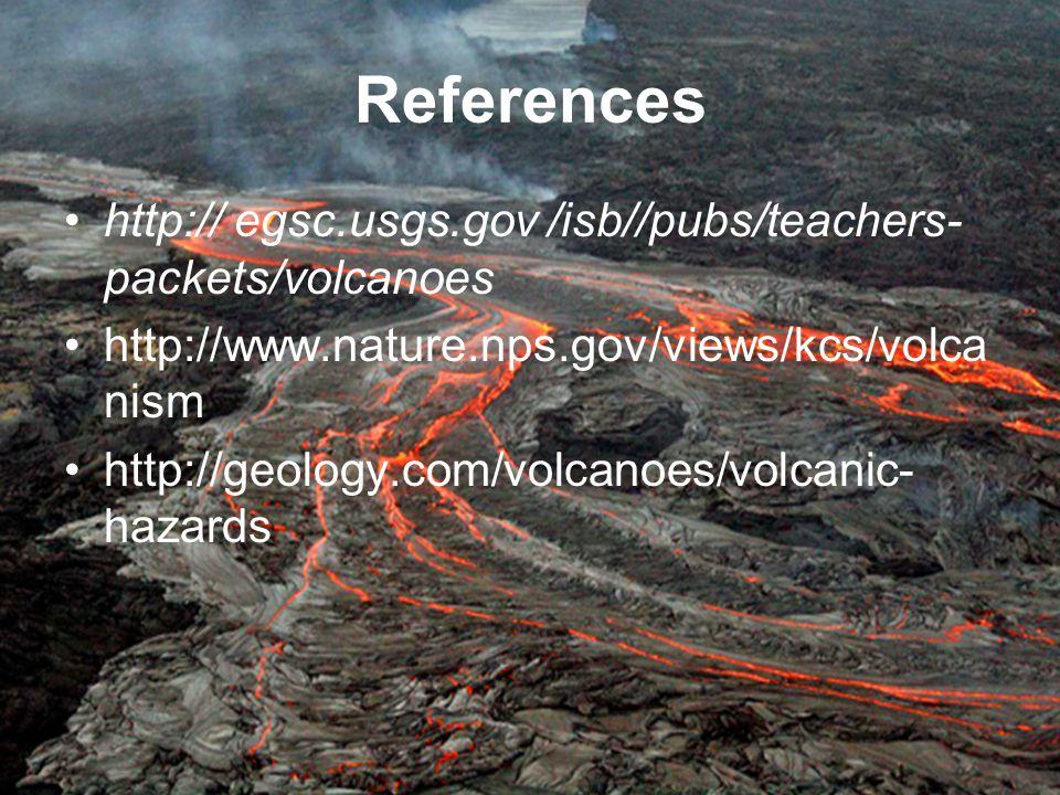 References http:// egsc.usgs.gov /isb//pubs/teachers- packets/volcanoes http://www.nature.nps.gov/views/kcs/volca nism http://geology.com/volcanoes/vo