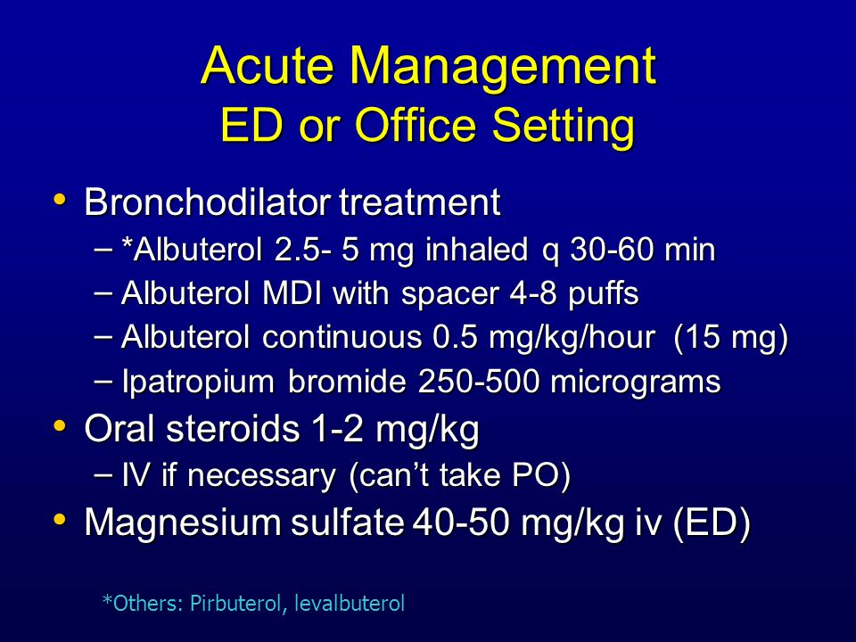 Acute Management ED or Office Setting Bronchodilator treatment Bronchodilator treatment – *Albuterol 2.5- 5 mg inhaled q 30-60 min – Albuterol MDI with spacer 4-8 puffs – Albuterol continuous 0.5 mg/kg/hour (15 mg) – Ipatropium bromide 250-500 micrograms Oral steroids 1-2 mg/kg Oral steroids 1-2 mg/kg – IV if necessary (can't take PO) Magnesium sulfate 40-50 mg/kg iv (ED) Magnesium sulfate 40-50 mg/kg iv (ED) *Others: Pirbuterol, levalbuterol
