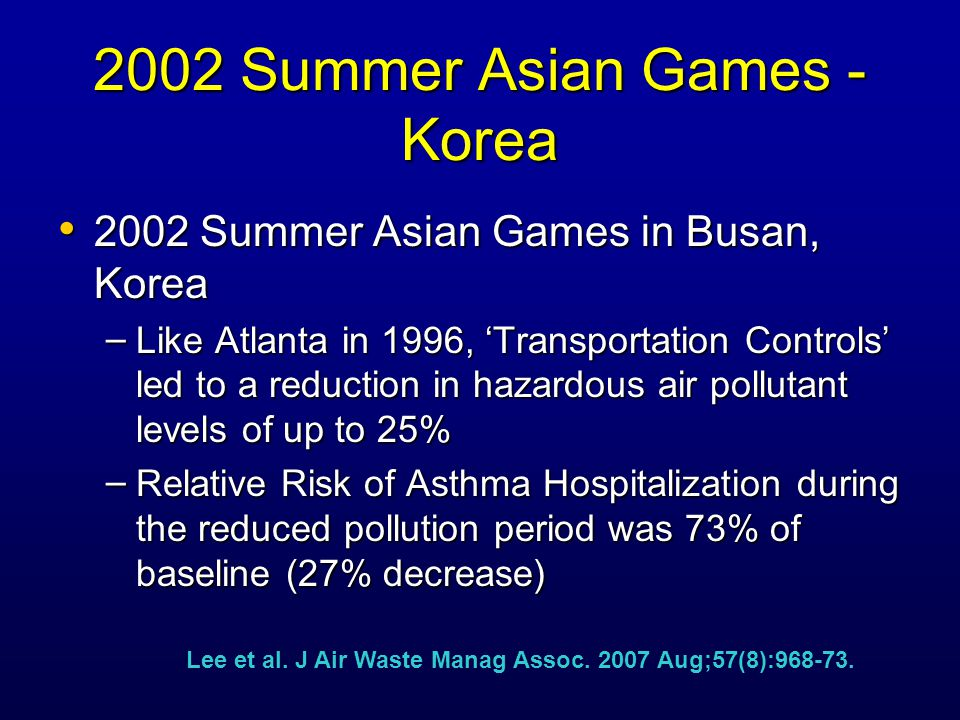 2002 Summer Asian Games - Korea 2002 Summer Asian Games in Busan, Korea 2002 Summer Asian Games in Busan, Korea – Like Atlanta in 1996, 'Transportation Controls' led to a reduction in hazardous air pollutant levels of up to 25% – Relative Risk of Asthma Hospitalization during the reduced pollution period was 73% of baseline (27% decrease) Lee et al.