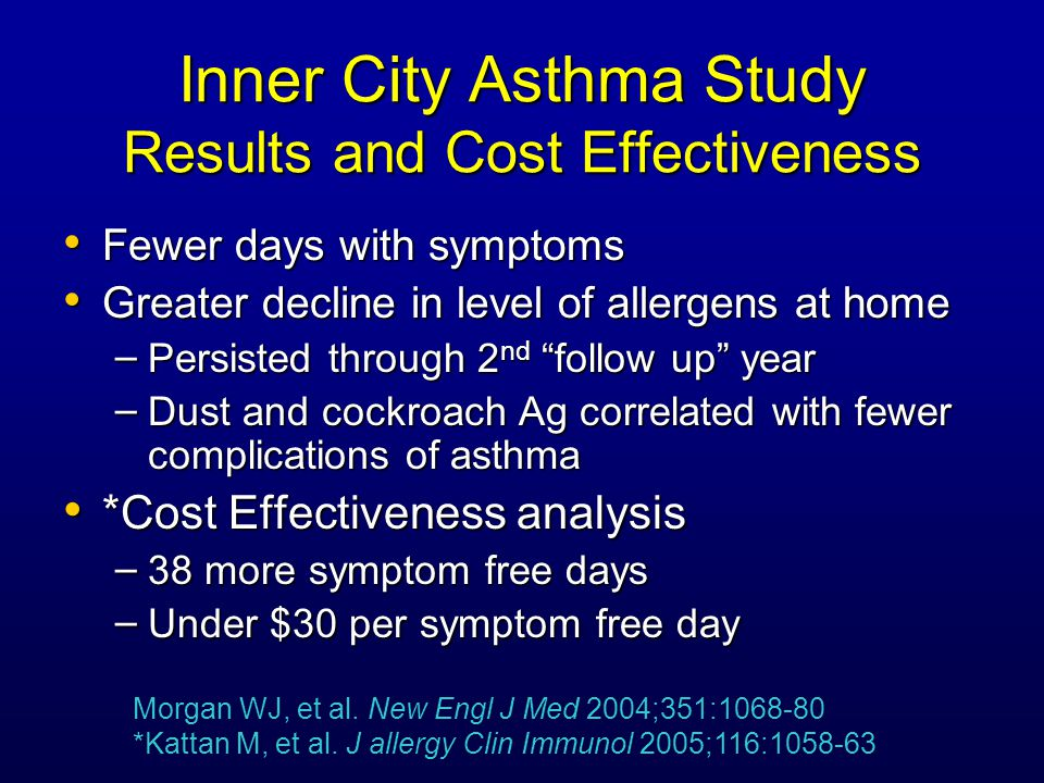 Inner City Asthma Study Results and Cost Effectiveness Fewer days with symptoms Fewer days with symptoms Greater decline in level of allergens at home Greater decline in level of allergens at home – Persisted through 2 nd follow up year – Dust and cockroach Ag correlated with fewer complications of asthma *Cost Effectiveness analysis *Cost Effectiveness analysis – 38 more symptom free days – Under $30 per symptom free day Morgan WJ, et al.