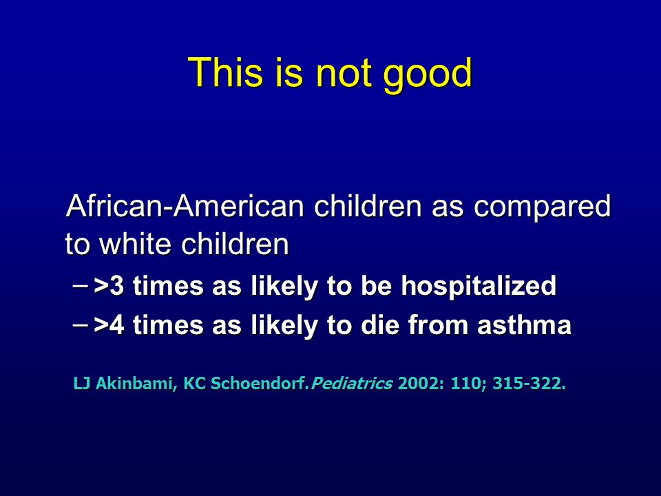 This is not good African-American children as compared to white children African-American children as compared to white children – >3 times as likely to be hospitalized – >4 times as likely to die from asthma LJ Akinbami, KC Schoendorf.Pediatrics 2002: 110; 315-322.