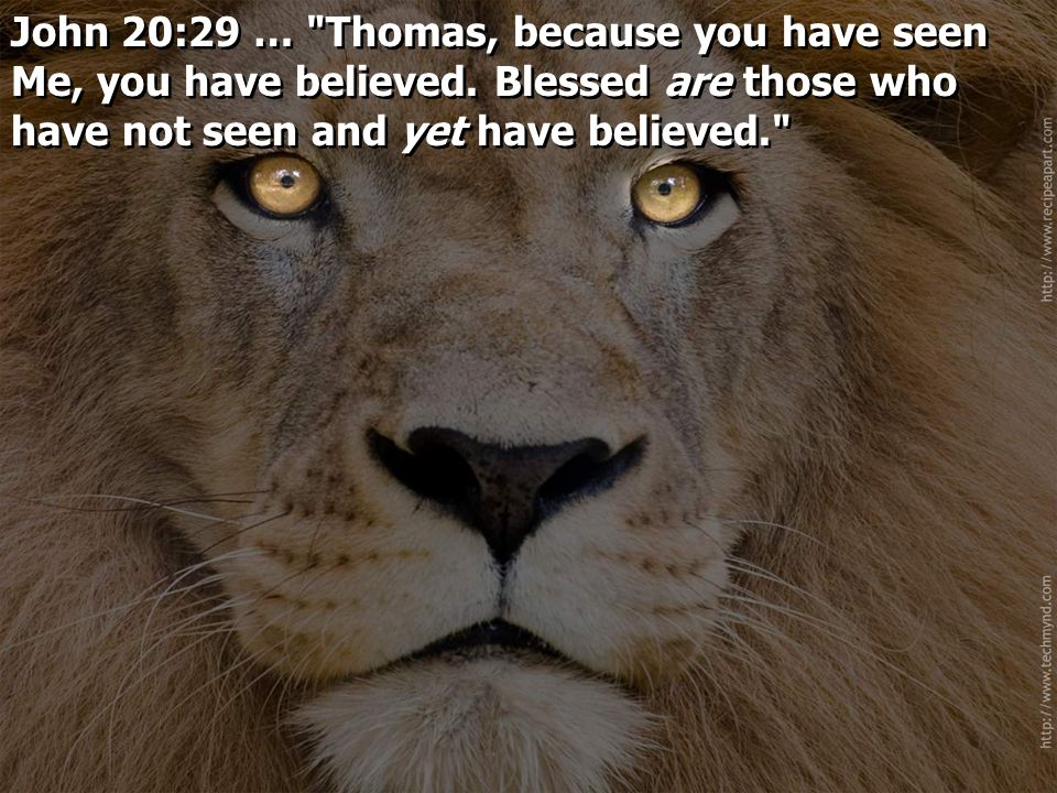 John 20:29 … Thomas, because you have seen Me, you have believed.