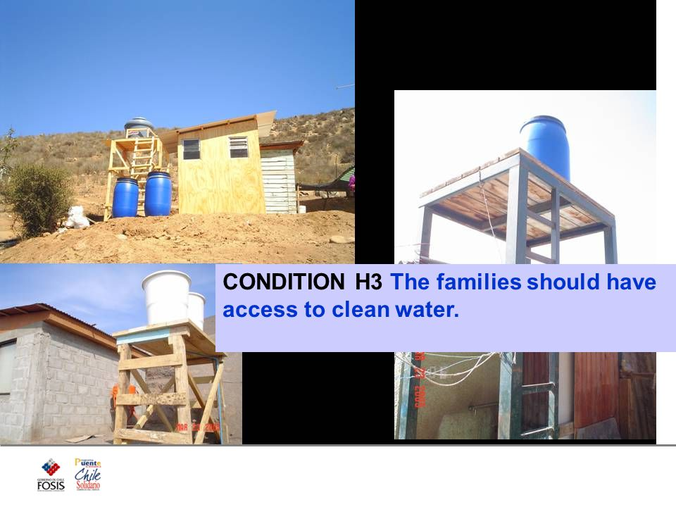 CONDITION H3 The families should have access to clean water.