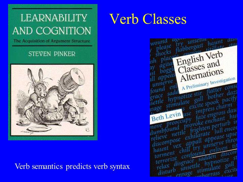 Verb Classes Verb semantics predicts verb syntax