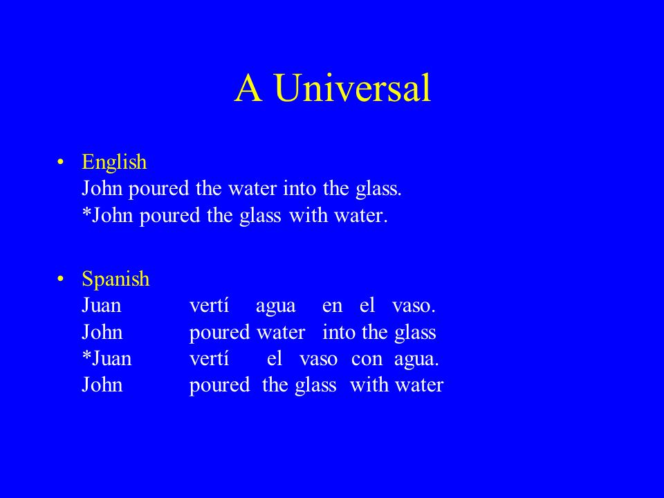 A Universal English John poured the water into the glass. *John poured the glass with water. Spanish Juanvertíaguaen el vaso. John poured water into t
