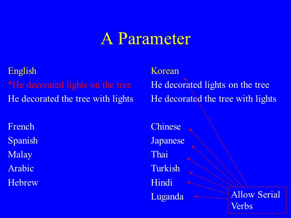 A Parameter English *He decorated lights on the tree He decorated the tree with lights French Spanish Malay Arabic Hebrew Korean He decorated lights o