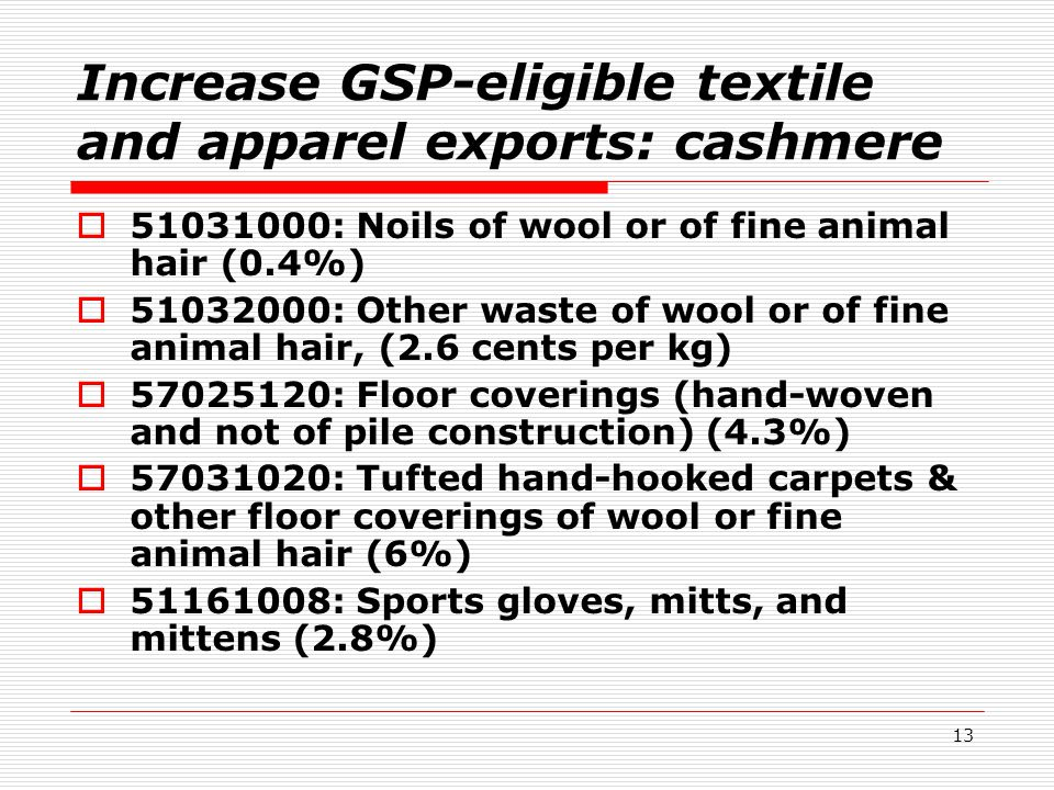 13 Increase GSP-eligible textile and apparel exports: cashmere  51031000: Noils of wool or of fine animal hair (0.4%)  51032000: Other waste of wool or of fine animal hair, (2.6 cents per kg)  57025120: Floor coverings (hand-woven and not of pile construction) (4.3%)  57031020: Tufted hand-hooked carpets & other floor coverings of wool or fine animal hair (6%)  51161008: Sports gloves, mitts, and mittens (2.8%)