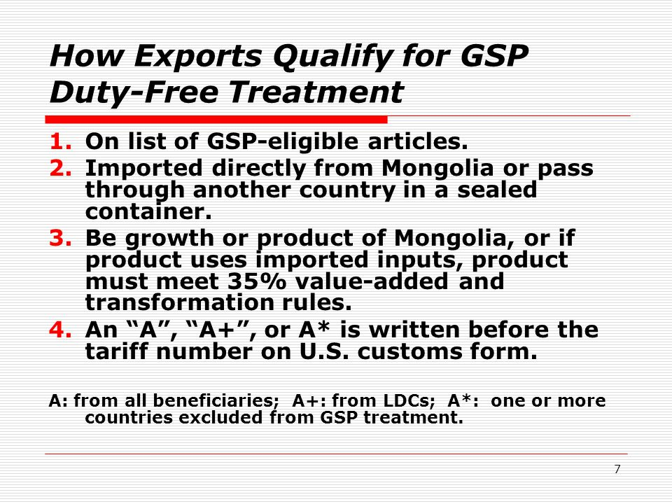 18 Consider exporting more products to the U.S.duty-free under GSP Mongolia exports these U.S.