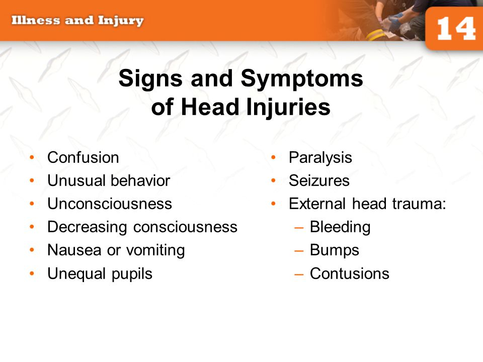 Signs and Symptoms of Head Injuries Confusion Unusual behavior Unconsciousness Decreasing consciousness Nausea or vomiting Unequal pupils Paralysis Se