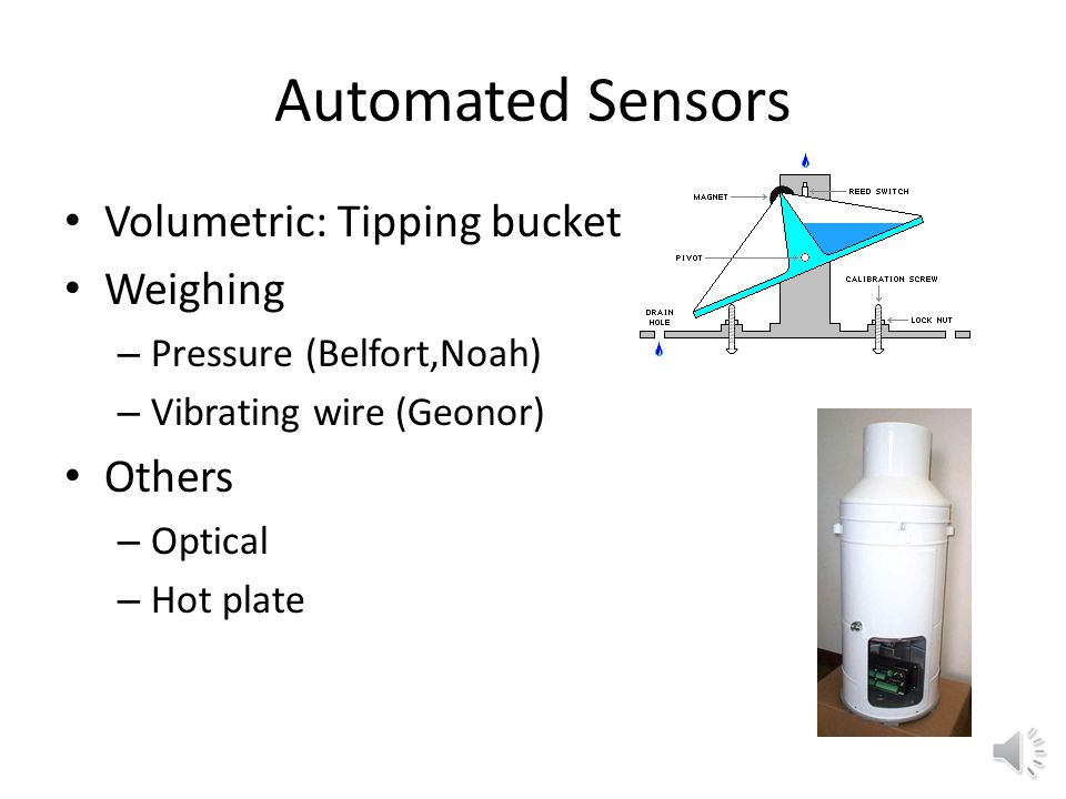 Automated Sensors Volumetric: Tipping bucket Weighing – Pressure (Belfort,Noah) – Vibrating wire (Geonor) Others – Optical – Hot plate