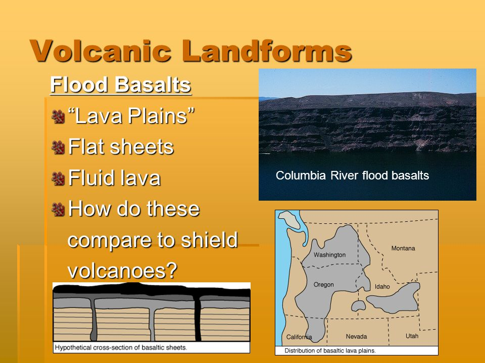 Volcanic Landforms Flood Basalts Lava Plains Flat sheets Fluid lava How do these compare to shield compare to shield volcanoes.