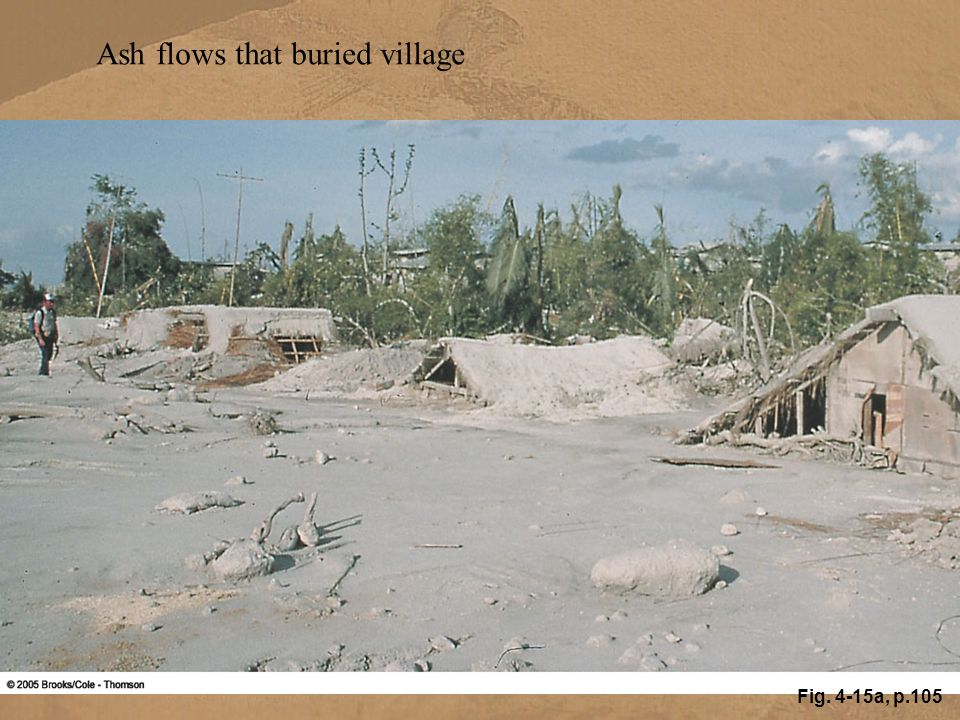 Fig. 4-15a, p.105 Ash flows that buried village