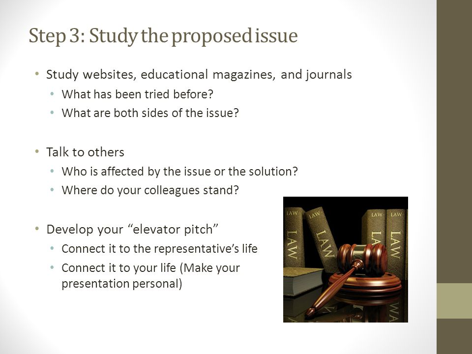 Step 3: Study the proposed issue Study websites, educational magazines, and journals What has been tried before.