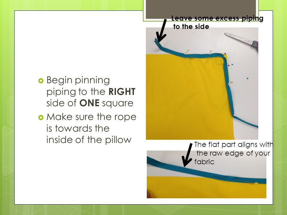  Begin pinning piping to the RIGHT side of ONE square  Make sure the rope is towards the inside of the pillow Leave some excess piping to the side The flat part aligns with the raw edge of your fabric