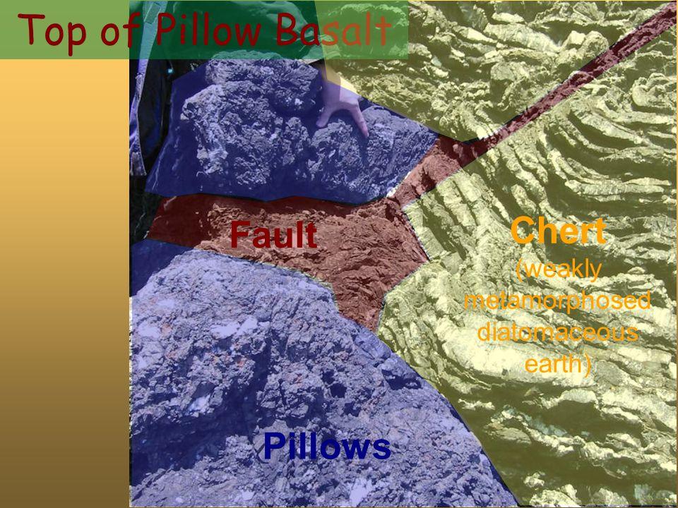 Pillows Top of Pillow Basalt Fault Chert (weakly metamorphosed diatomaceous earth)