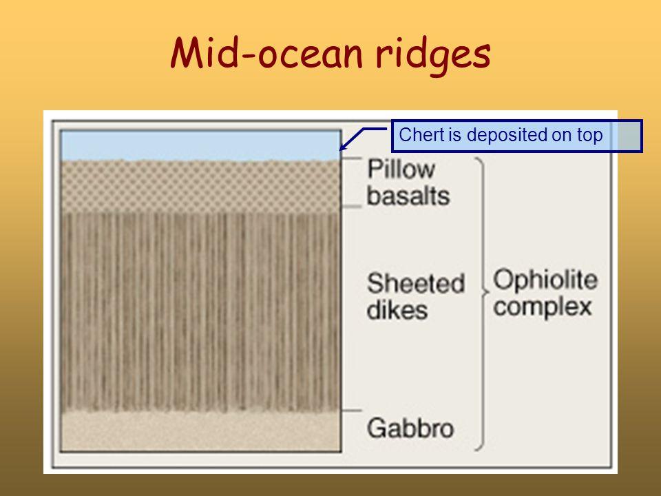 Mid-ocean ridges Chert is deposited on top