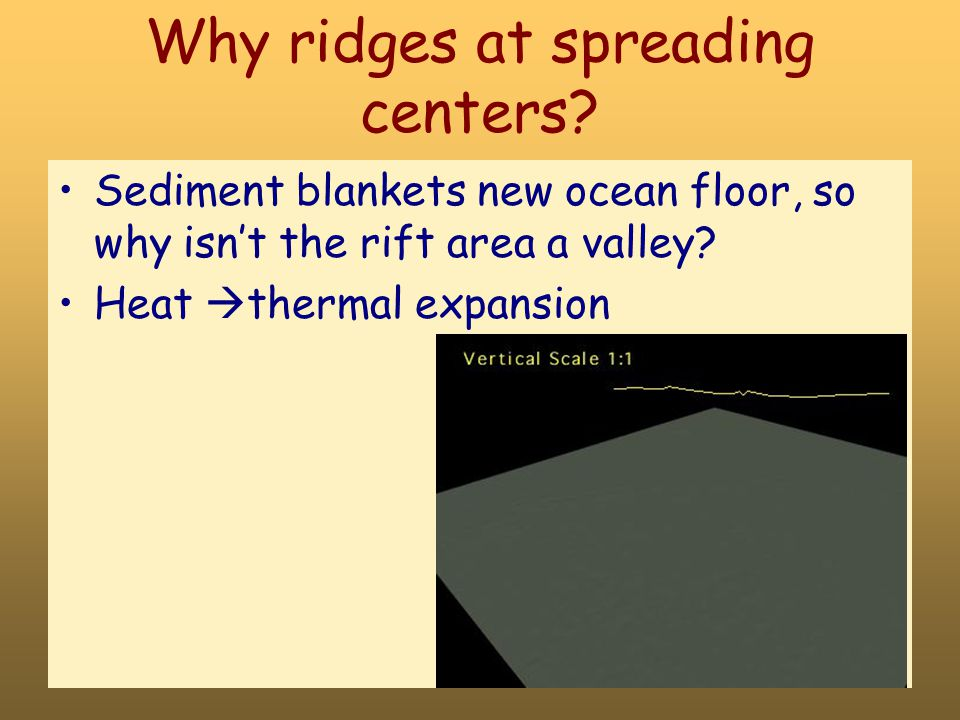 Why ridges at spreading centers.