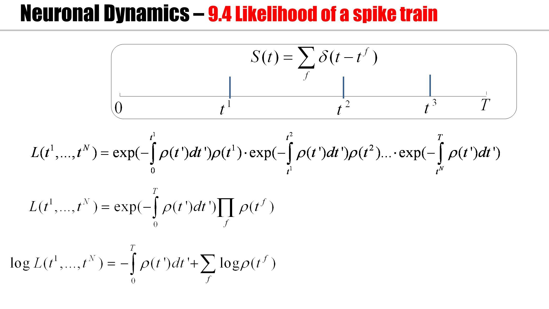 Neuronal Dynamics – 9.4 Likelihood of a spike train