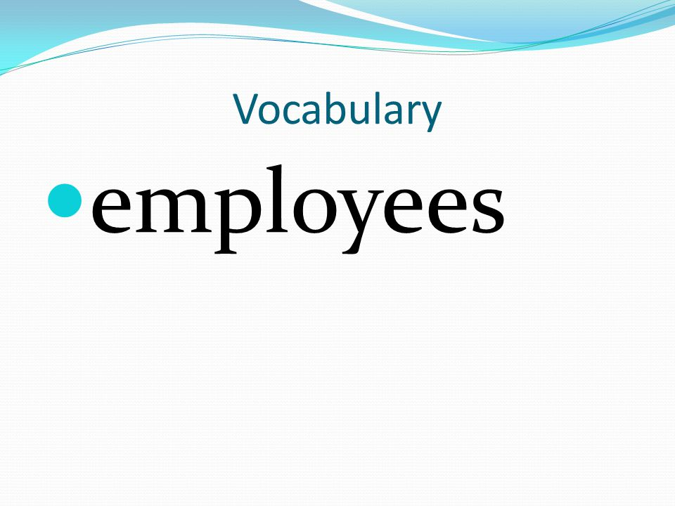 Vocabulary employees
