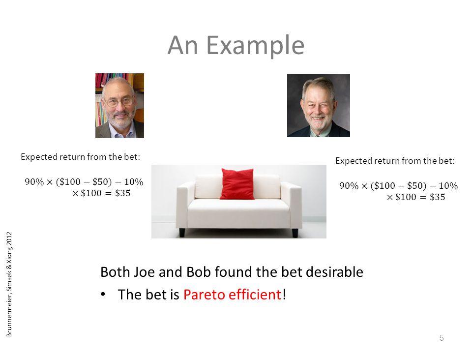 Brunnermeier, Simsek & Xiong 2012 An Example 5 Both Joe and Bob found the bet desirable The bet is Pareto efficient!