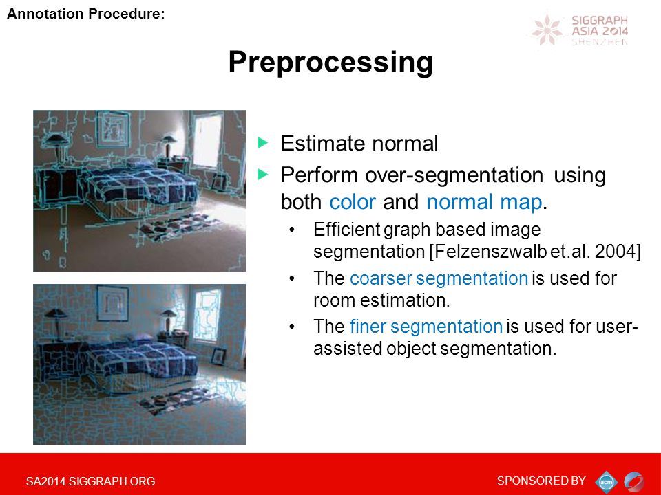 SA2014.SIGGRAPH.ORG SPONSORED BY Preprocessing Estimate normal Perform over-segmentation using both color and normal map.
