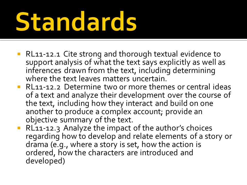  RL11-12.1 Cite strong and thorough textual evidence to support analysis of what the text says explicitly as well as inferences drawn from the text,