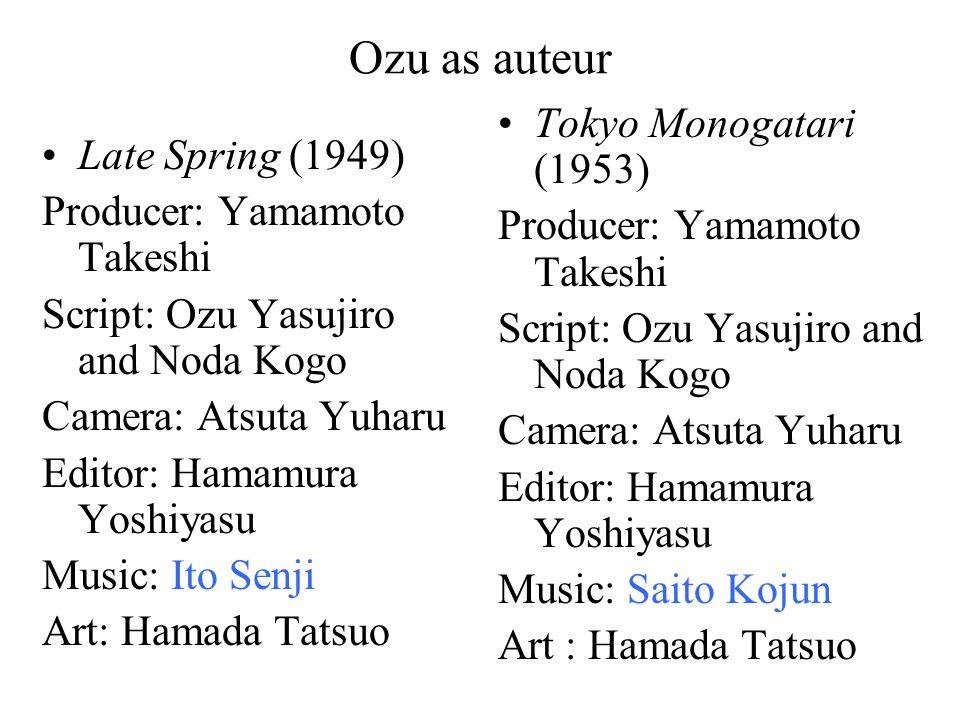 Ozu as auteur Late Spring (1949) Producer: Yamamoto Takeshi Script: Ozu Yasujiro and Noda Kogo Camera: Atsuta Yuharu Editor: Hamamura Yoshiyasu Music: Ito Senji Art: Hamada Tatsuo Tokyo Monogatari (1953) Producer: Yamamoto Takeshi Script: Ozu Yasujiro and Noda Kogo Camera: Atsuta Yuharu Editor: Hamamura Yoshiyasu Music: Saito Kojun Art : Hamada Tatsuo