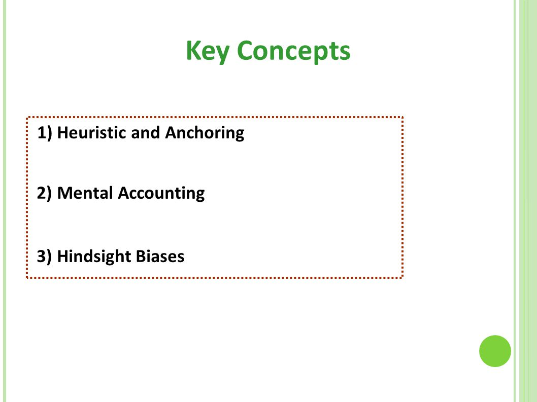 Key Concepts 1) Heuristic and Anchoring 2) Mental Accounting 3) Hindsight Biases