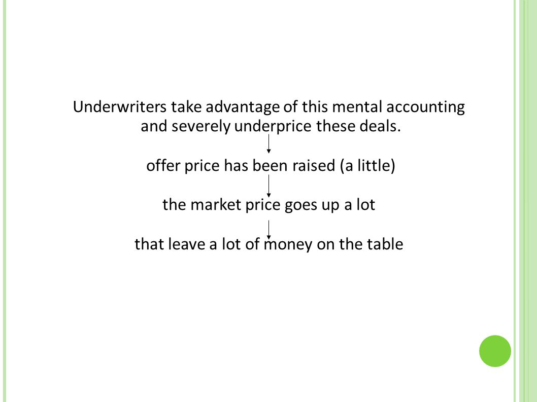 Underwriters take advantage of this mental accounting and severely underprice these deals. offer price has been raised (a little)‏ the market price go