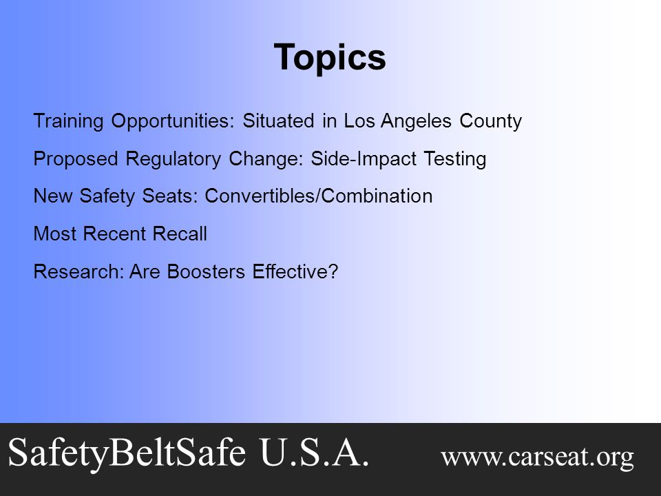 Topics SafetyBeltSafe U.S.A.