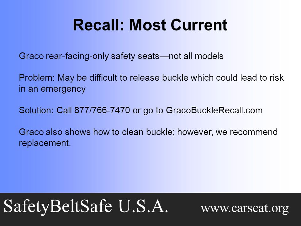 Recall: Most Current SafetyBeltSafe U.S.A.