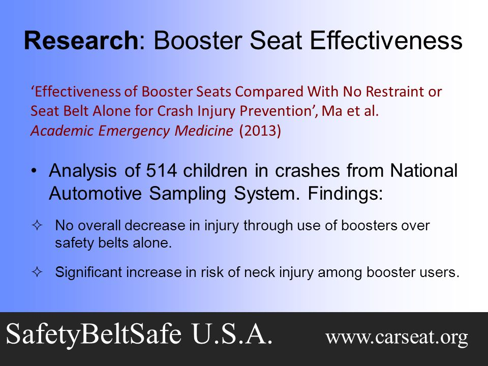 Research: Booster Seat Effectiveness SafetyBeltSafe U.S.A.